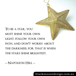 To be a star, you must shine your own light, follow your own path, and don't worry about the darkness, for that is when the stars shine brightest ~ Napoleon Hill ~